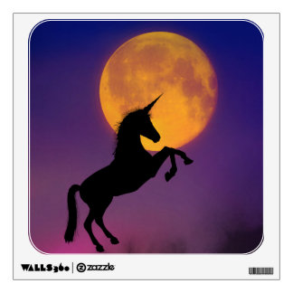 Unicorn Rearing Silhouette and Moon Wall Decal