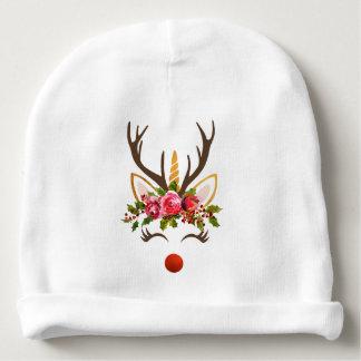 Unicorn Reindeer Antler / Christmas Flowers Baby Beanie