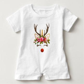 Unicorn Reindeer Antler / Christmas Flowers Baby Romper