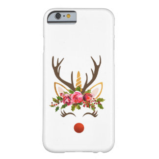 Unicorn Reindeer Antler / Christmas Flowers Barely There iPhone 6 Case