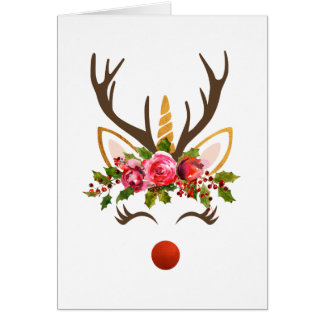 Unicorn Reindeer Antler / Christmas Flowers Card