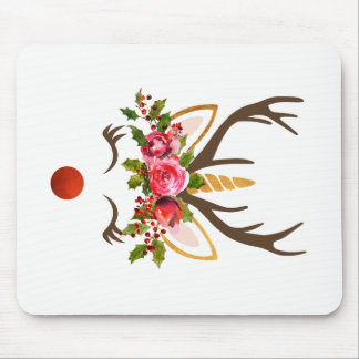Unicorn Reindeer Antler / Christmas Flowers Mouse Pad