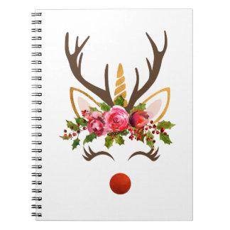 Unicorn Reindeer Antler / Christmas Flowers Notebooks