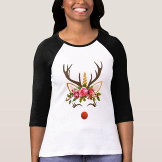 Unicorn Reindeer Antler / Christmas Flowers T-Shirt