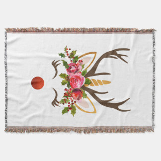 Unicorn Reindeer Antler / Christmas Flowers Throw Blanket