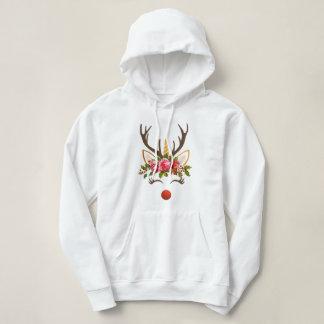Unicorn Reindeer Antler / Winter Flowers Hoodie