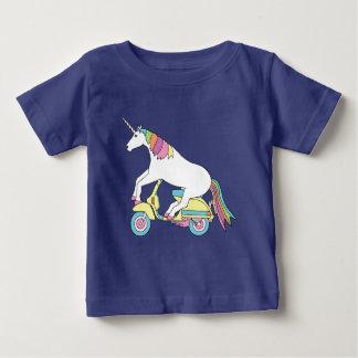 Unicorn Riding Motor Scooter Baby T-Shirt