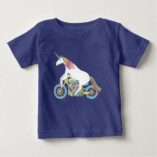 Unicorn Riding Motorcycle Baby T-Shirt