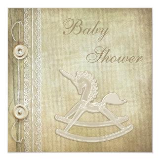 "Unicorn Rocking Horse & Lace Neutral Baby Shower 5.25"" Square Invitation Card"