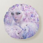 Unicorn Rose Goddess Art Decorator Pillow-Round Round Pillow