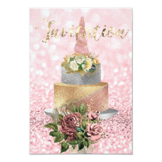 Unicorn Rose Gold Floral Cake Pink Flower Glitter Card
