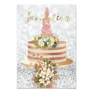 Unicorn Rose Gold Floral Cake Pink Rose Glitter Card