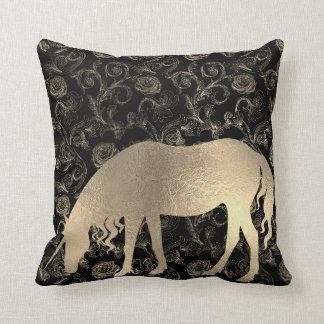 Unicorn Roses Princess Black Fairly Gold Garden Throw Pillow