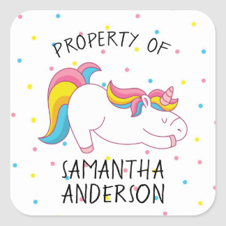 Unicorn school supply or property of stickers