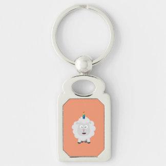 Unicorn Sheep with rainbow Zffz8 Silver-Colored Rectangle Keychain