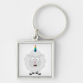 Unicorn Sheep with rainbow Zffz8 Silver-Colored Square Keychain