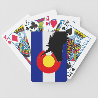 Unicorn Silhouette Over The Colorado Flag Bicycle Playing Cards