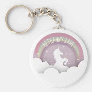 Unicorn Silhouette Rainbow Clouds Personalized Keychain