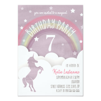 Unicorn Silhouette Rainbow Clouds + Stars Birthday Card