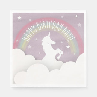 Unicorn Silhouette Rainbow Clouds + Stars Birthday Napkin