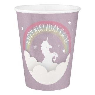 Unicorn Silhouette Rainbow Clouds + Stars Birthday Paper Cup