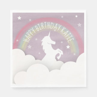 Unicorn Silhouette Rainbow Clouds + Stars Birthday Paper Napkins