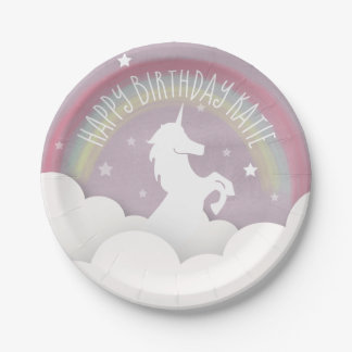 Unicorn Silhouette Rainbow Clouds + Stars Birthday Paper Plate