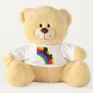 Unicorn Silhouette with Rainbow Teddy Bear Toy