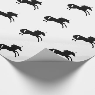 Unicorn Silhouette Wrapping Paper - Black and Whit
