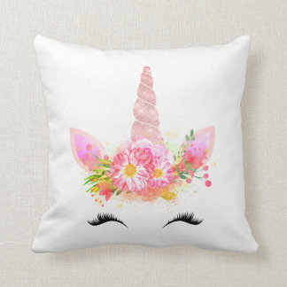 Unicorn Smiling Lashes Black Rose Gold Flowers Throw Pillow