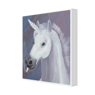 unicorn smoking painting canvas print