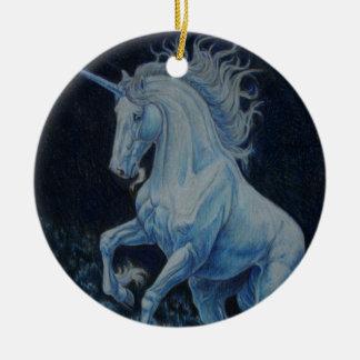 Unicorn Splash Round Ceramic Ornament