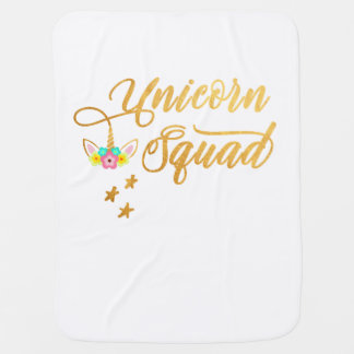 Unicorn Squad. Calligraphy, Floral Horse Face Baby Blanket