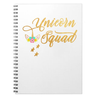 Unicorn Squad. Calligraphy, Floral Horse Face Spiral Notebook