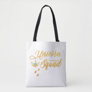 Unicorn Squad. Calligraphy, Floral Horse Face Tote Bag