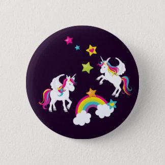 Unicorn Squad Rainbow Stars. Fairy Tale Button