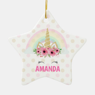 Unicorn Star Ornament, Unicorn Decor Ceramic Ornament
