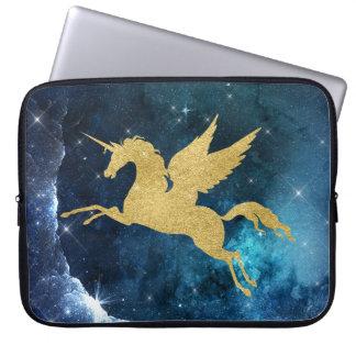 Unicorn Stardust Galaxy Constellation Blue Gold Laptop Sleeve