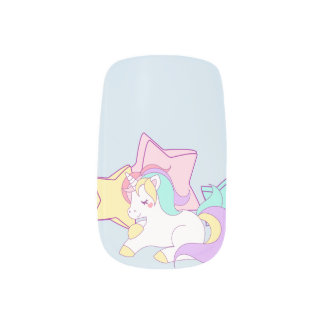 Unicorn & Stars Pastel Nail Art Designs