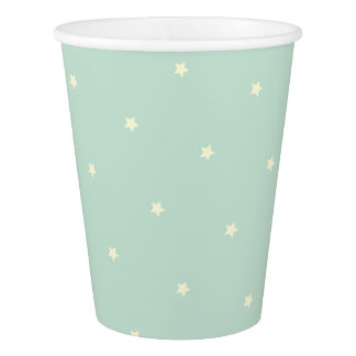 Unicorn Style Yellow Stars on Green Party Cups