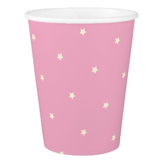 Unicorn Style Yellow Stars on Pink Party Cups