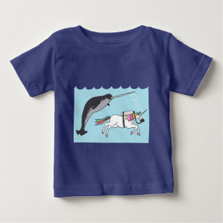 Unicorn Swimming With Narwhal Baby T-Shirt