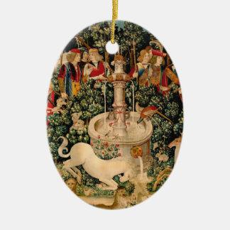 Unicorn Tapestries Medieval Art Ceramic Ornament