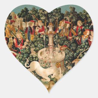 Unicorn Tapestries Medieval Art Heart Sticker