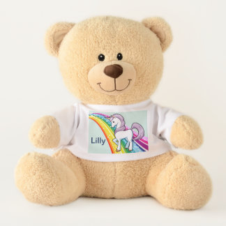Unicorn Teddy Bear Little Girl Personalize NAME