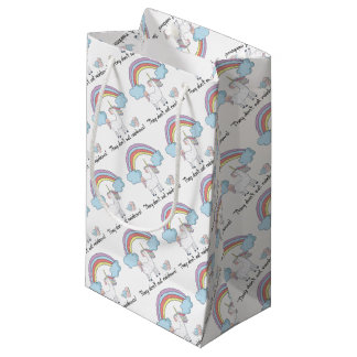 Unicorn tee shirt small gift bag