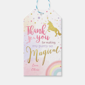 Unicorn thank you tags Unicorn Magical Birthday Pack Of Gift Tags