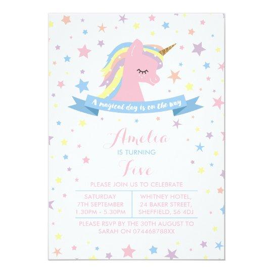 Unicorn themed birthday party invitation