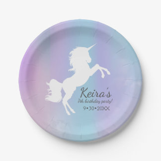 Unicorn themed, cotton candy color, event details 7 inch paper plate