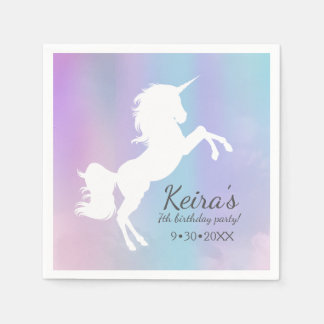 Unicorn themed, cotton candy color, event details paper napkin